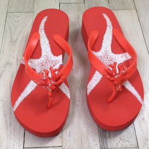 Shoes - coral flip flop/sandals NWOT